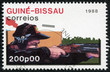 stamp printed in Guinea-Bissau shows shooting