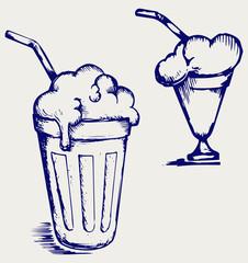 Milk shake. Doodle style
