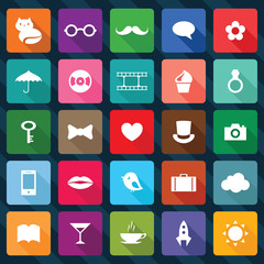 Set of flat design square icons.