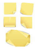 Blank yellow paper stickers collection. Template for a content