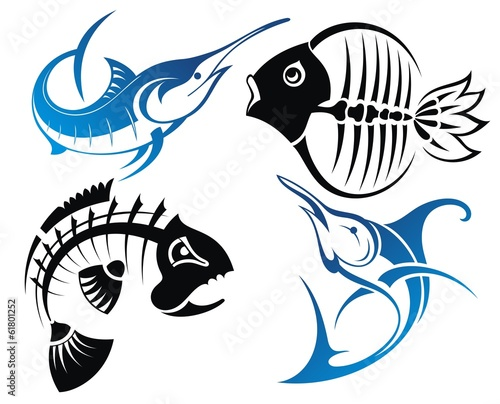 Set of vector fish