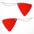 Etiquette triangulaire rouge