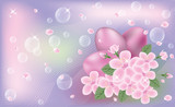 Easter cute banner with eggs and sakura flores