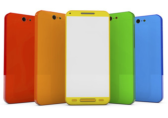 group of touchscreen smartphones with colorful interface
