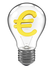3d rendering of a lightbulb with euro currency symbol