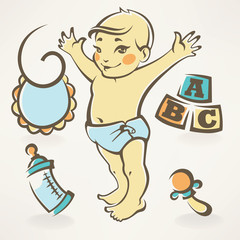 It's a boy, baby shower design icons and illustration