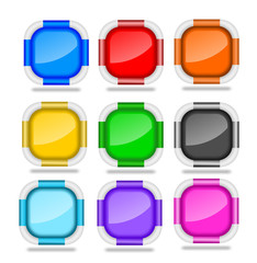 Square Web Buttons with Bevel Rims