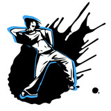 Hand drawn vector girl street dancer on splashed background