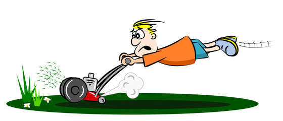 A cartoon guy cutting the grass with a run away lawn mower