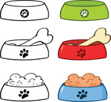 Dog Bowl Cartoon Illustrations. Set Collection