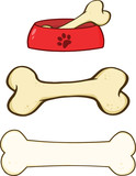 Dog Bone and Dog Bowl Cartoon Illustrations. Set Collection