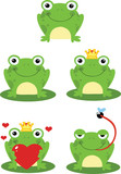 Happy Frog Sitting On A Leaf Cartoon Characters. Set Collection
