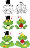 Happy Groom and Bride Frog Cartoon Characters. Set Collection