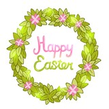 Happy Easter background with cartoon cute wreath