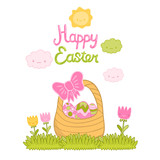 Happy Easter cartoon cute basket and eggs
