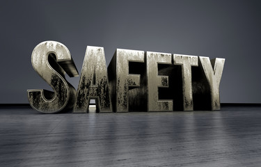 metallic typography of the word safety