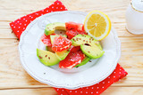 fresh salad with avocado and grapefruit