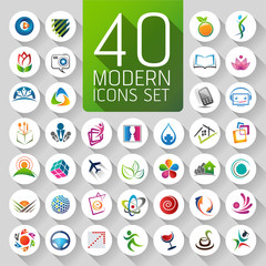 Set of abstract web Icons and globe vector logos