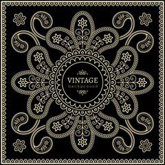 Abstract golden ornamental frame on black