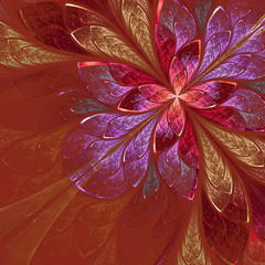 Beautiful fractal flower in beige, violet and red. Computer gene