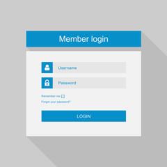 Vector login interface - username and password, flat design