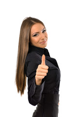 Portrait of a business woman giving thumbs up