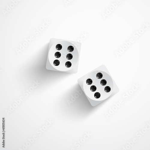 Dice on white background
