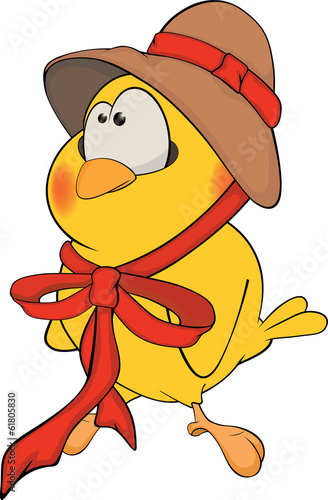 Chicken in a hat cartoon