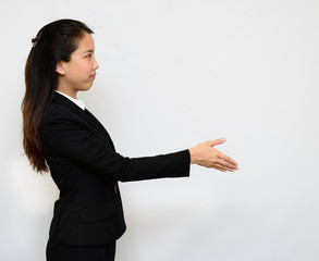 Thai business woman handshake