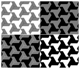Set of Four B&W Seamless Patterns. Triangle Elements