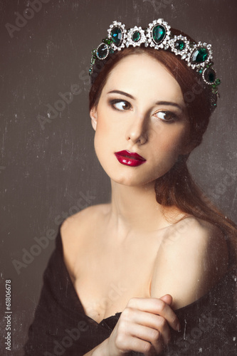 Portrait of a young women with crown