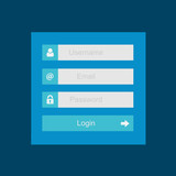 Login interface - username and password, flat design