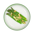 Cooked garlic and asparagus on plate