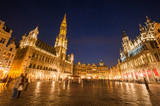 Grand Place City Hall And Guildhouses at night, BRUSSELS.
