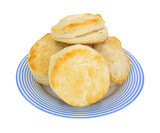 Biscuits on blue striped plate
