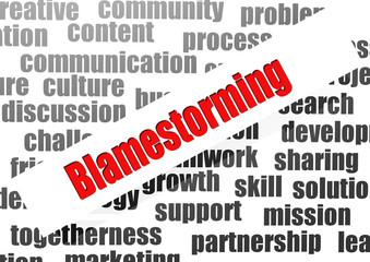 Blamestorming word cloud