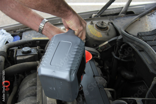 Man checking the oil level