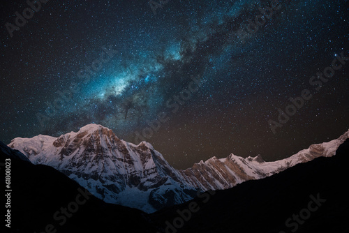Night shot of Annapurna Range with Milky way. - 61808023