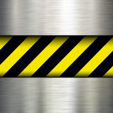 Metallic background with warning stripes