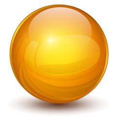 3D sphere, orange vector ball.