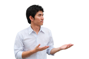 An asian man lift his hands as present product