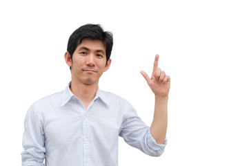 An asian man point his hand as present product
