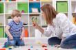 Leinwandbild Motiv Angry mother scolding a disobedient child