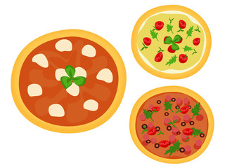 Three Italian pizzas