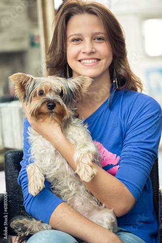 teenage girl  with her l dog