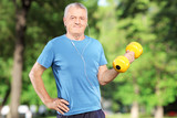 Senior man exercising with weight in park