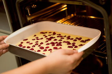 put the cake in the oven, Cherry sponge  cake