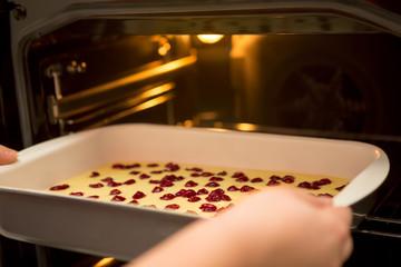 Cherry sponge cake before baking
