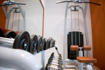 set of weights at gym