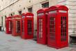 Obrazy na płótnie, fototapety, zdjęcia, fotoobrazy drukowane : Traditional red telephone boxes in London, UK